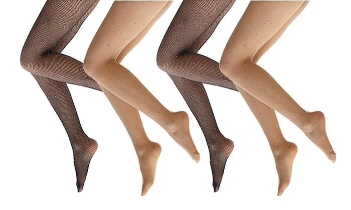 311f98b1e6e Black and Nude Fishnet Rhinestone Stockings (Set of 2 or 4)