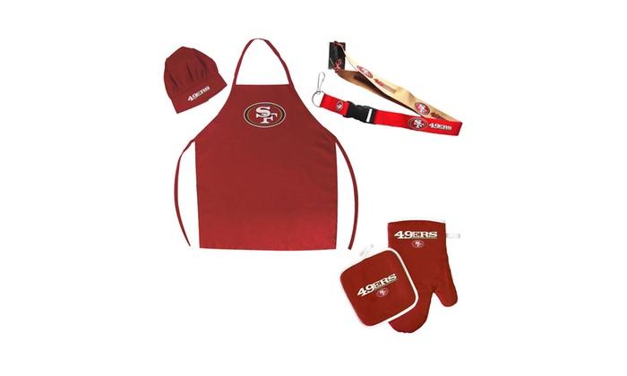 0c0d7b1b NFL San Francisco 49ers Combo BBQ Set - Chef Hat, Apron, Oven Mitt Pot  Holder