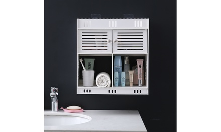 Non-Perforated Wall Mounted PVC Bathroom Cabinet with Drawer and 2 doors,White