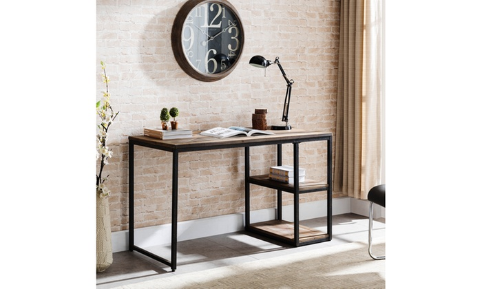 ... Garviston Reclaimed Wood Writing Desk  Rustic Black W/ Distressed Fir
