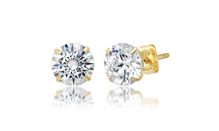 14k Yellow Gold Round 6mm Cubic Zirconia Stud Earrings