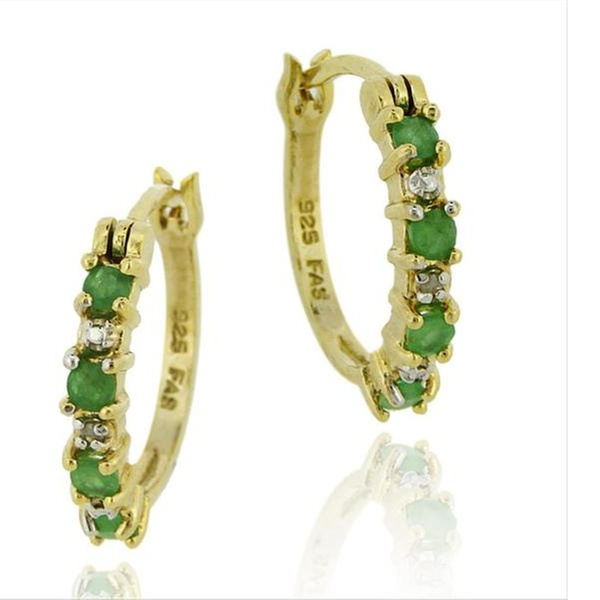 18K Gold Plated Genuine Emerald and Diamond Accent Hoop Earrings