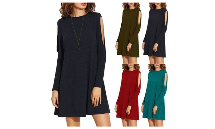 Women's Cold Shoulder Cutout Sleeve Loose T-Shirt Shift Dress