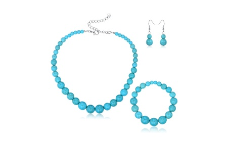 Silver Turquoise Ball Earrings, Bracelet, and Necklace Set 42aaa721-0749-4ccd-b8b0-ce12456af66a