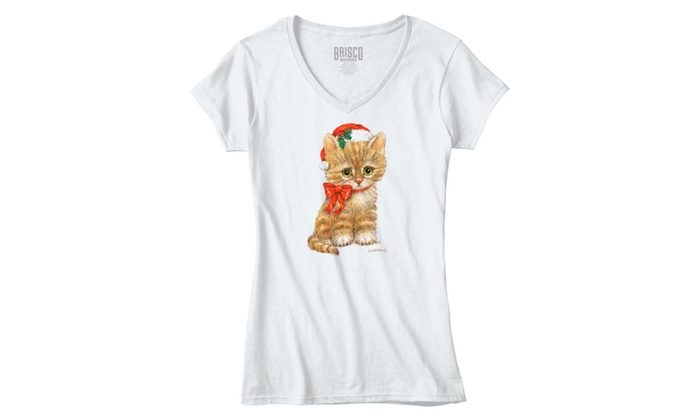Santa's Cute Sad Christams Kitty Cat - Junior Fitted V-Neck T-Shirt