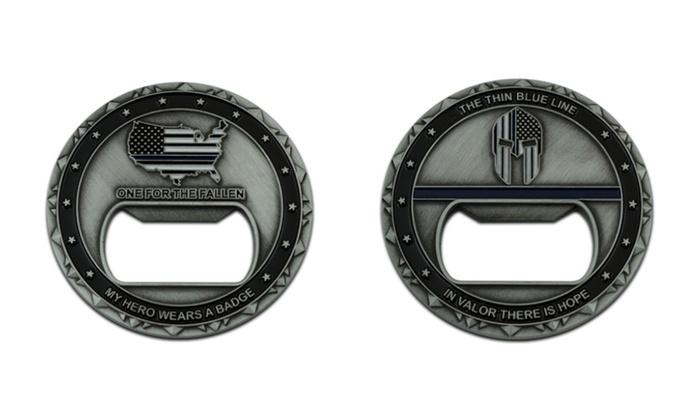 Thin Blue Line Spartan Warrior Challenge Coin Bottle Opener