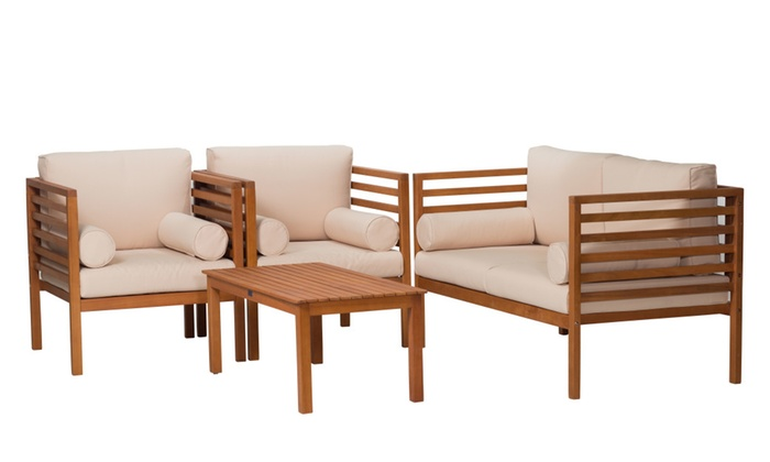 Glenwood Canyon 4-Piece Eucalyptus Patio Furniture Set - Glenwood Canyon 4-Piece Eucalyptus Patio Furniture Set Groupon