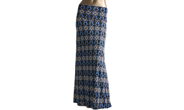 Azules Womens Stretch Maxi Skirt 9001PS-D52