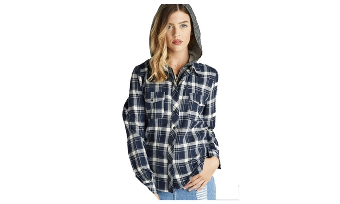 d36a80eb49e Terry Mixed Hoodie Plus Size Long Sleeve Two Tone Plaid Shirt ...