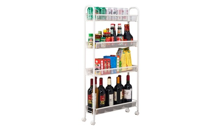 4 Layer Kitchen Slim Slide Out Rolling Storage Cart Tower Rack Shelf Was: $35 Now: $19.94.