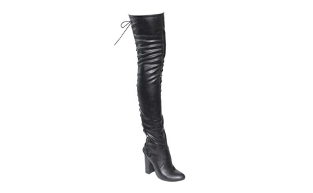 Beston EE81 Women's Thigh High Corset Lace Up Stacked High Heel Boots b62d40bb-ca5c-4be1-8ca3-7c5d88bffa0e
