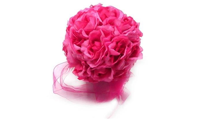 Rose kissing balls wedding flower decorations dark pink mauve groupon rose kissing balls wedding flower decorations dark pink mauve mightylinksfo