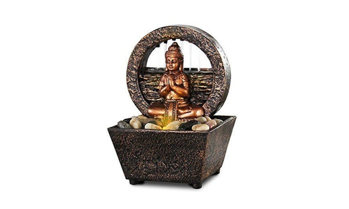 Tranquil Buddha LED Water Fountain Tabletop W/River Rocks