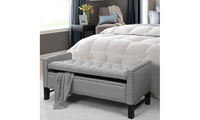 Cabot linen button tufted nailhead multi position storage bench groupon Gray storage bench