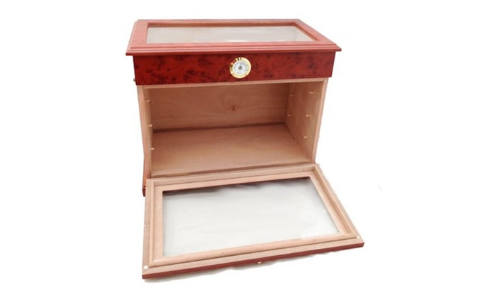 400 Ct Cigar Humidor Display Cabinet End Table Case Burlwood ...