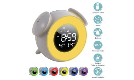 """Sunrise Alarm Clock 5"""" Dimmable LED 7 Color Light for Kids Girls Bedroom White"""