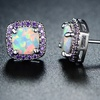 Lab-Created Fire Opal & Amethyst Stud Earrings By Peermont