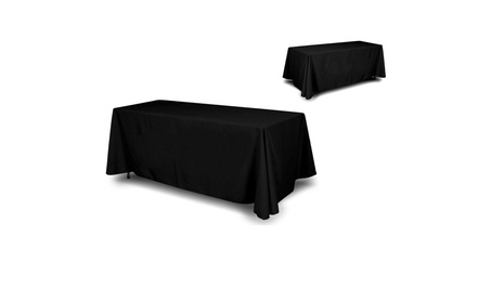 "4 Sided Full Back Black Tablecloth Size 90""x132"" suited for 6ft table ed8d8564-1705-4801-b3bd-639a8aa46dc7"