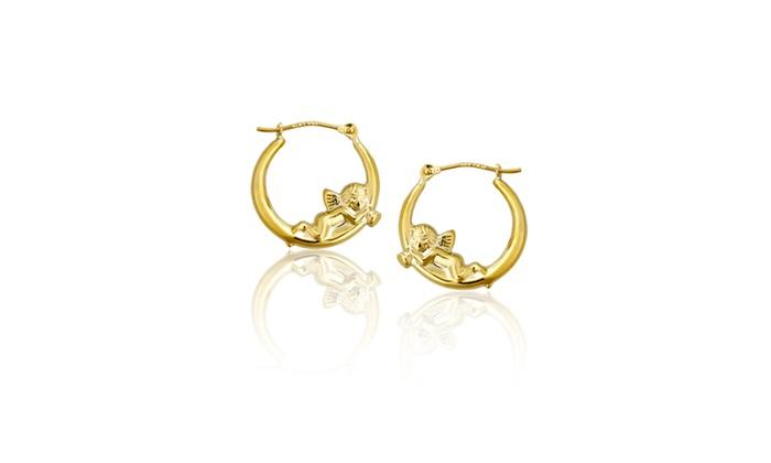 14k Gold Angel Earring