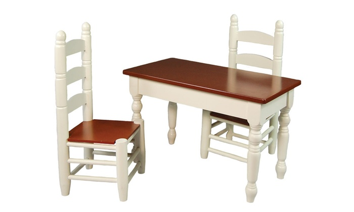 18 Inch Doll Furniture Wooden Farmhouse Kitchen Table And 2 Chairs Groupon