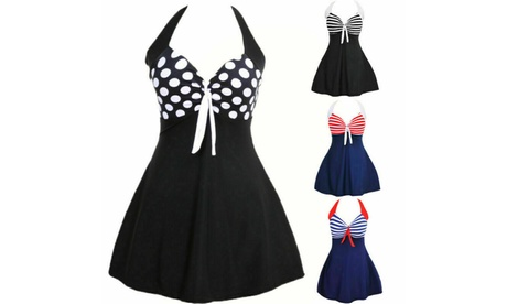 Womens Swimwear One Piece Plus Size Skirted Swimsuit Swim Skirt Sundress