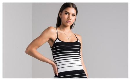 Unlocked Striped Bodycon Midi Dress e033f44d-df4b-4270-9c13-fcad364c5dd3