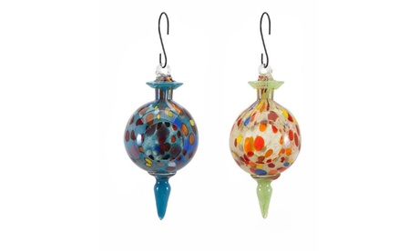 Set of 2 Multi-color Handcrafted Artisan Glass Hanging Bird Feeders (Goods For The Home Patio & Garden Bird Feeders & Food) photo