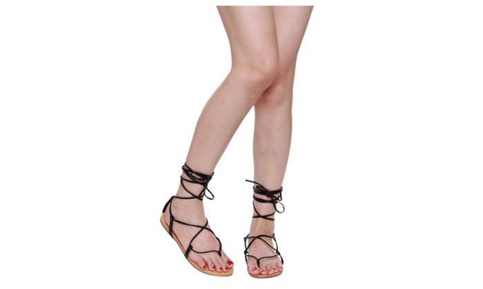 Beston EA88 Women Under Knee High Gladiator Lace Up Sandals