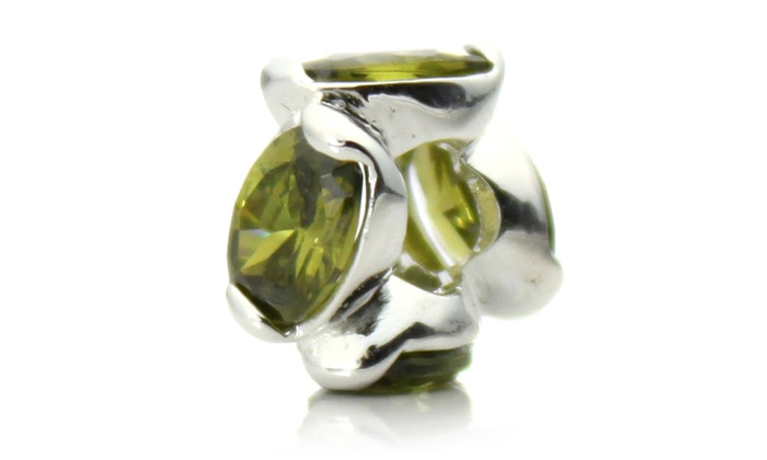 Groupon Goods: Silver Plated 'Bling' Decorative Green Crystal Bead