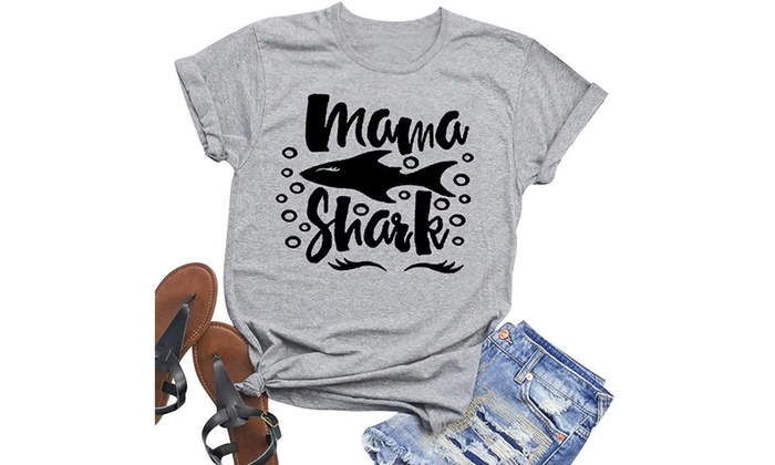 cdfabbbd8 Up To 59% Off on Mama Shark T-Shirt Women Lett...   Groupon Goods