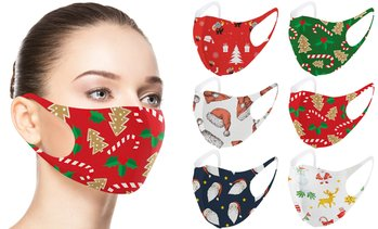 Fun Prints Reusable Holiday-themed Fabric Face Masks (6-Pack)