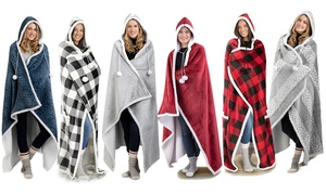 Luxury Hoodie Sherpa-Lined Throw Blanket