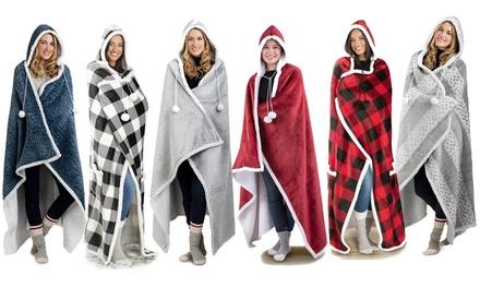 Luxury Hoodie Sherpa-Lined Throw Blanket