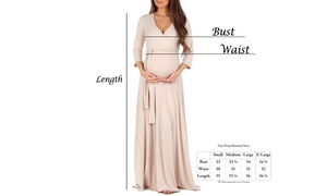Women's Faux Wrap Maternity Dress with Adjustable Belt - Made in USA-BB