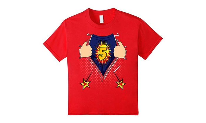 Kids Birthday Shirt 5 Superhero 5th Boys T