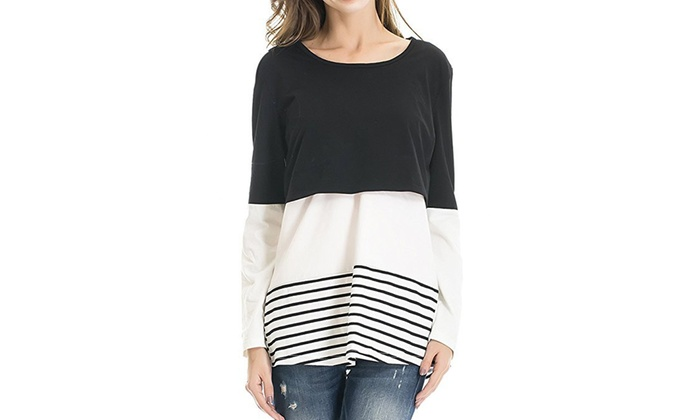 Maternity T Shirts Pregnancy Ladies Tee Short Sleeve Round Neck Summer Casual
