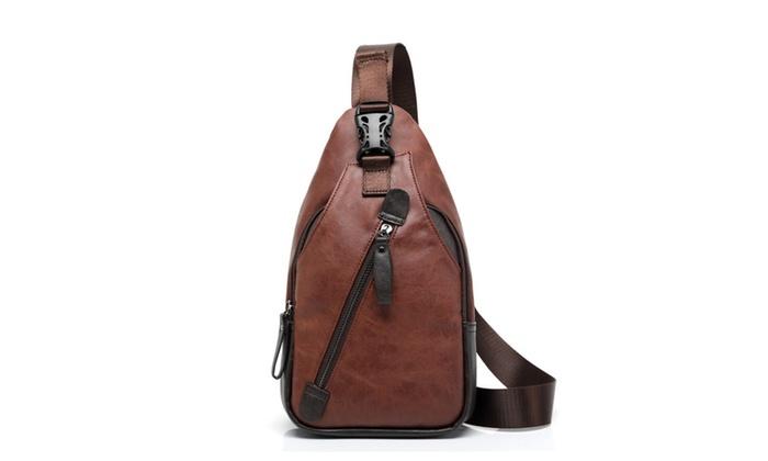 Men Leather Chest Sling Shoulder Cross Body Bag Cycle Backpack Satchel Day Pack