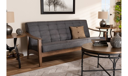 Larsen Gray Fabric Upholstered Walnut Wood 3-Piece Living Room Set