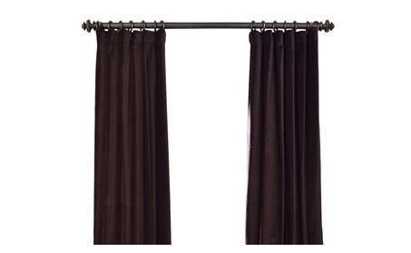 "Espresso Vintage Cotton Velvet Curtain 50"" Wide Each Panel 70779ee4-006f-4aef-89b9-cf8f599d921b"