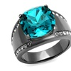 Light Black Stainless Steel 7.2 Ct Blue Zircon Crystal Cocktail Ring