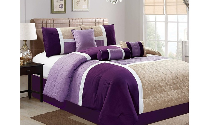 7 Piece Luxury Quilted Patchwork Comforter Set California King Purple Groupon