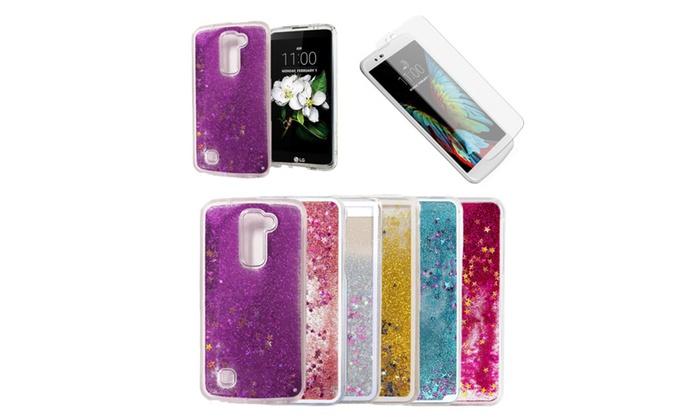 meet 0764f 9d4c3 Liquid Glitter Star Case & Glass for Lg G Stylo 2, K10, K7, K20 ...