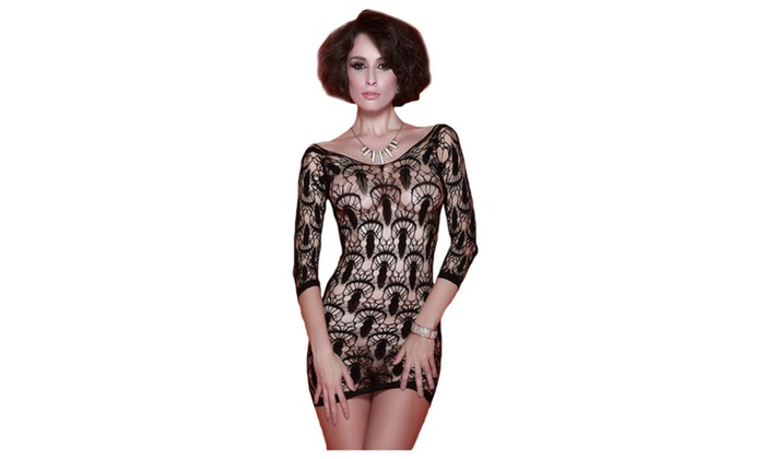 Women's Lingerie Jellyfish Hollow Seamless Lace Chemise - Black / one size
