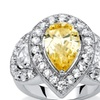 5.83 TCW Pear-Cut Canary Cubic Zirconia Halo Ring Platinum-Plated