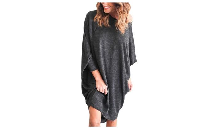 Women's Empire Waist Batwing sleeve Asymmetric Hem Dresses