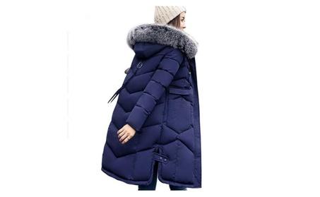 Women Hooded Coat Fur Collar Thicken Warm Long Jacket 70e8b4b8-b185-4958-bbb1-37433df4e127