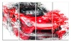 Red Exotic Car Metal Wall Art 48x28 4 Panels