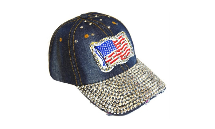 American Flag Sparkling Bedazzled Studded Patriotic Baseball Cap Hat