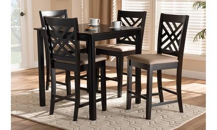 Caron Fabric Upholstered Brown 5-Piece Wood Pub Set