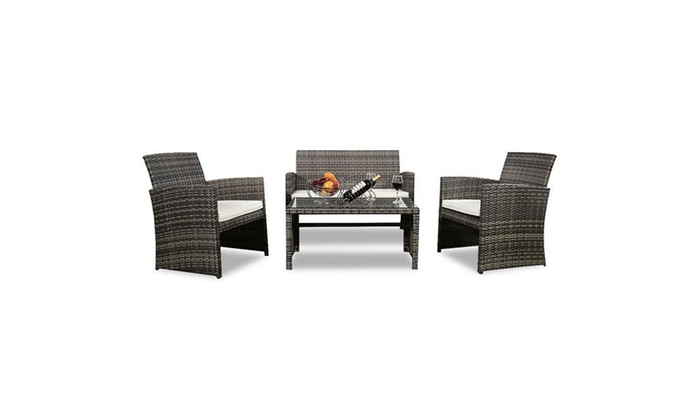 Patio Furniture For Over 300 Lbs.Up To 17 Off On Rattan Patio Furniture 4 Piece Groupon Goods